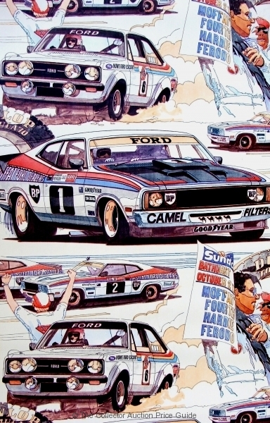 Vintage-Roll-of-Wallpaper-Bathurst-Hardie-Ferodo-1000-circa-1977-featuring-Alan-Moffat-Ford-Escort-RS2000-MkI-and-the-Ford-XB-GT-Falcon-Sold-for-67-2014