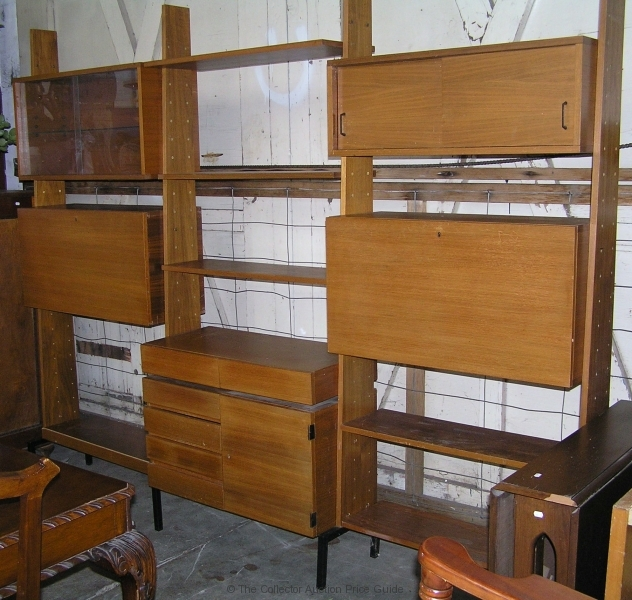 1970 S Teak Veneer 3 Section Modular Wall Unit With Adjustable Cupboards And Shelves Sold For